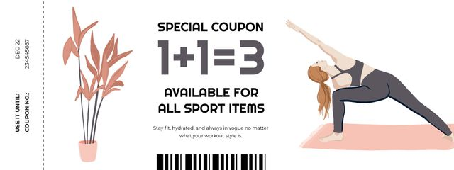 Sport Items Offer with Woman doing Exercises Coupon Design Template