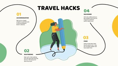 Travel Hacks with Woman drawing Mind Map Modelo de Design