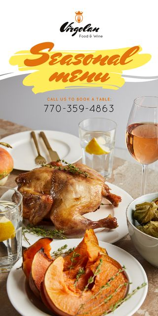 Seasonal Menu Ad Chicken and Pumpkin Graphic Tasarım Şablonu