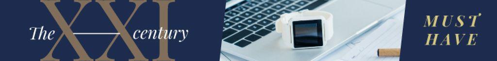 Gadgets Ad Smart Watch on Laptop Leaderboard – шаблон для дизайна