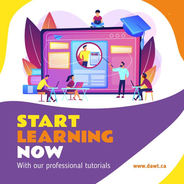 Courses Ad Creative Team Working on Website Page Instagram AD Tasarım Şablonu