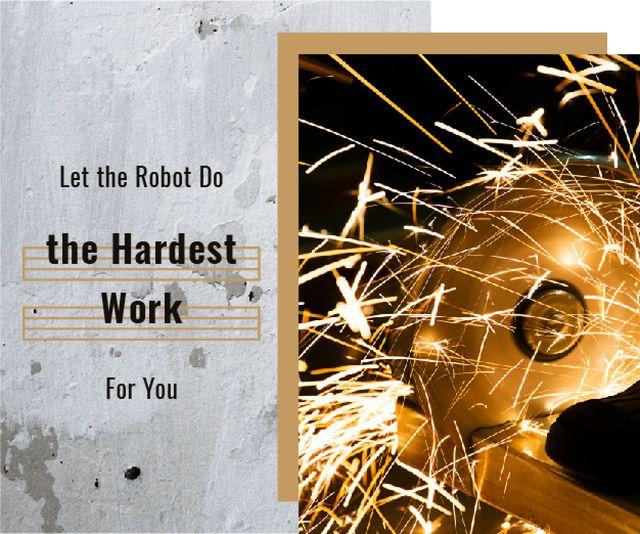 Designvorlage Robotics Quote Sparks in Metal Workshop für Medium Rectangle