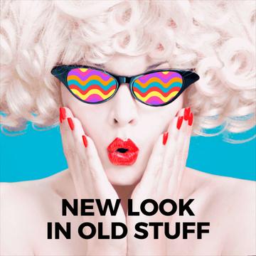 Blonde Woman in old school glasses