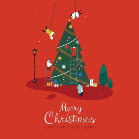 People decorating Christmas tree Animated Post Modelo de Design