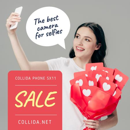 Gadgets Sale Girl Taking Selfie Instagram Design Template