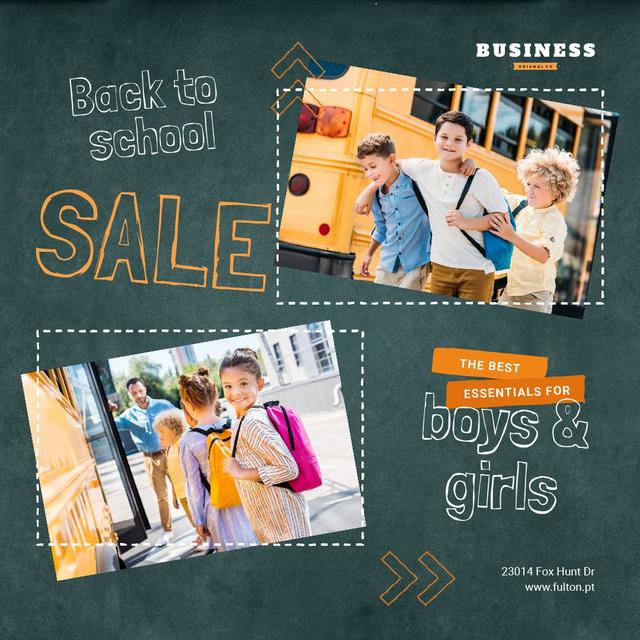 Back to School Sale Kids by School Bus Animated Post Modelo de Design