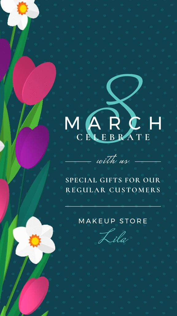 8 March Greeting Tulips and Narcissus Border | Vertical Video Template — Créer un visuel