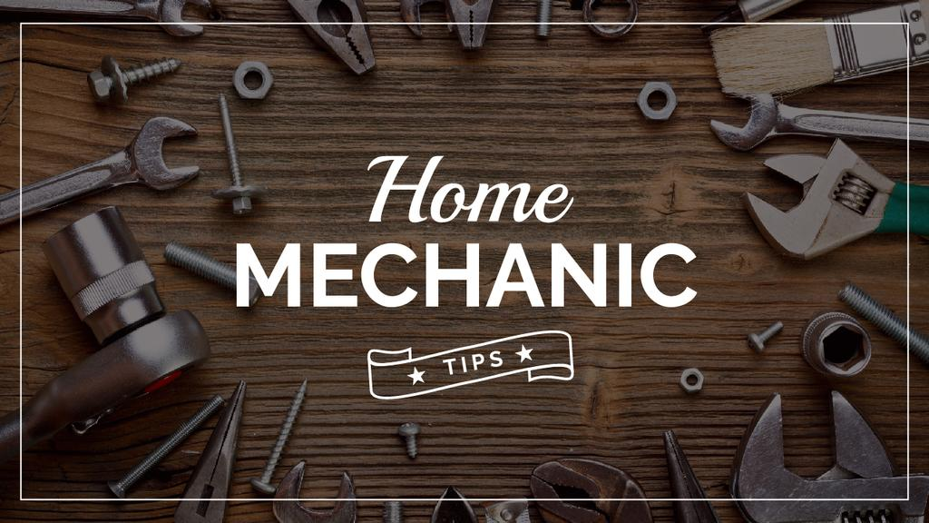 Mechanic Tools and Screws on Wooden Table | Youtube Thumbnail Template — Maak een ontwerp