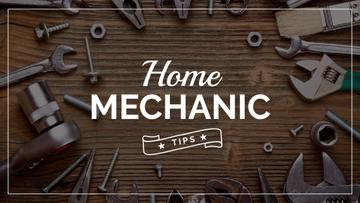 Mechanic Tools and Screws on Wooden Table
