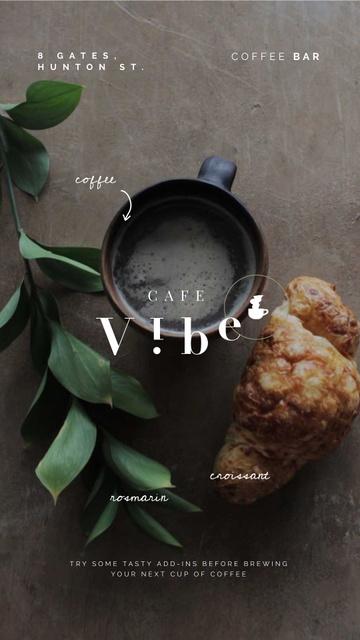Modèle de visuel Cafe Promotion Cup and Croissant on Table - Instagram Video Story