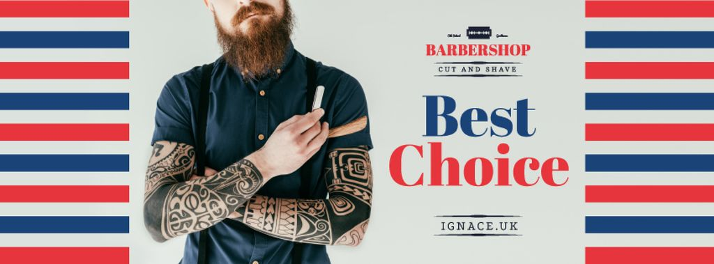 Professional barber holding razor — Maak een ontwerp