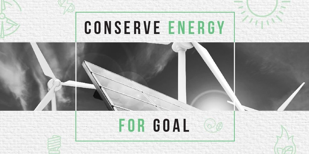 Szablon projektu Green Energy Wind Turbines and Solar Panels Twitter