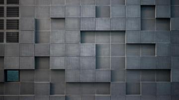 Concrete wall with cube bricks