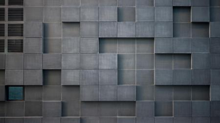 Plantilla de diseño de Concrete wall with cube bricks Zoom Background