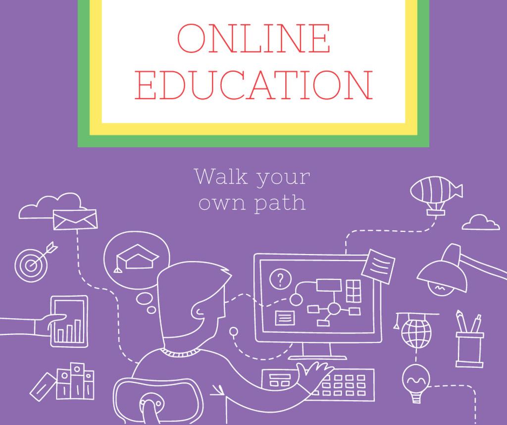 Online Education ad Man by Computer — ein Design erstellen