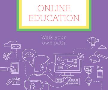 Online Education ad Man by Computer