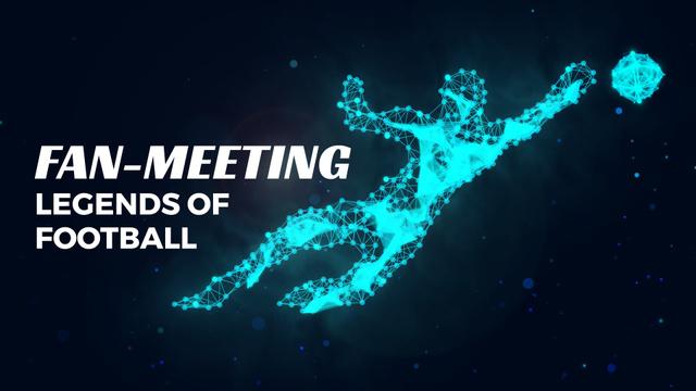 Ontwerpsjabloon van Full HD video van Polygonal silhouette of goalkeeper catching ball