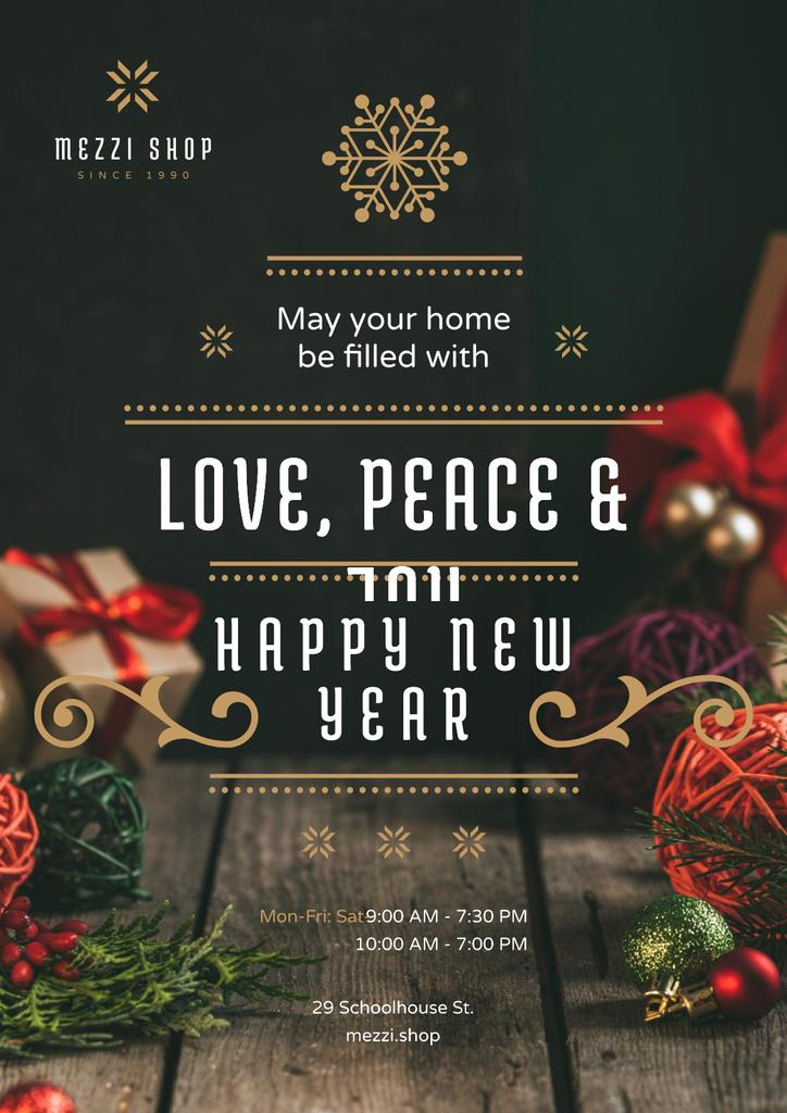 Ontwerpsjabloon van Poster van New Year Greeting Decorations and Presents