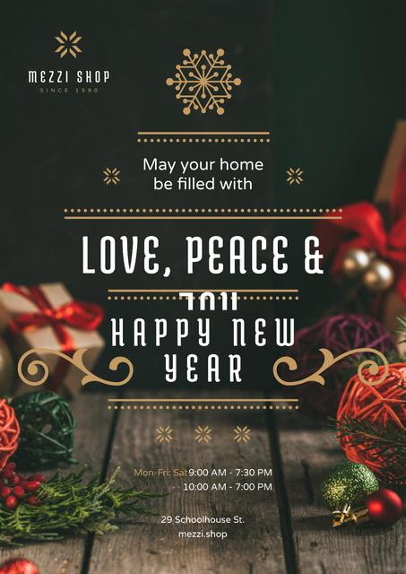 Plantilla de diseño de New Year Greeting Decorations and Presents Poster