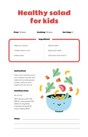 Plantilla de diseño de Healthy Salad for Kids Recipe Card