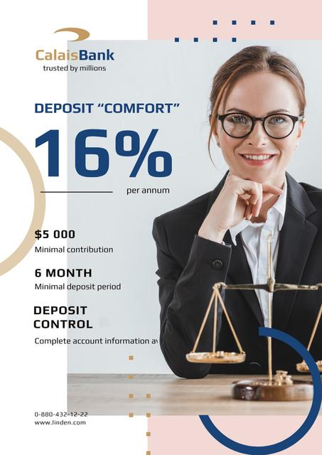 Banking Services with Smiling Woman by Scales Poster – шаблон для дизайну