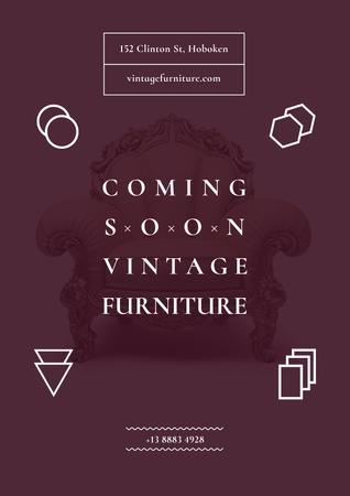 Vintage furniture shop Opening Poster – шаблон для дизайна