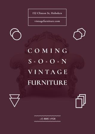 Vintage furniture shop Opening Posterデザインテンプレート