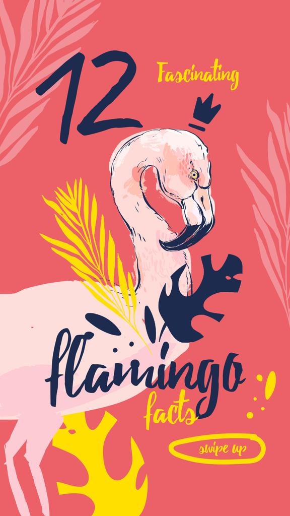Plantilla de diseño de Pink flamingo bird Instagram Story