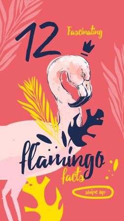 Designvorlage Pink flamingo bird für Instagram Story
