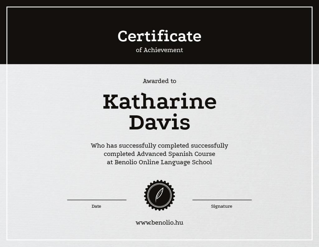 Language School Online courses Achievement — Crear un diseño