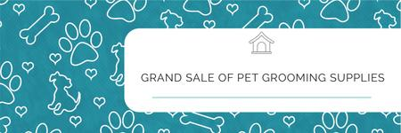 Ontwerpsjabloon van Twitter van Grand sale of pet grooming supplies