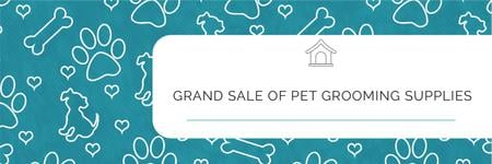 Grand sale of pet grooming supplies Twitter Design Template