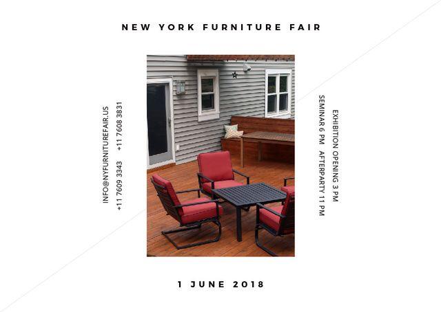 New York Furniture Fair announcement Postcard Tasarım Şablonu