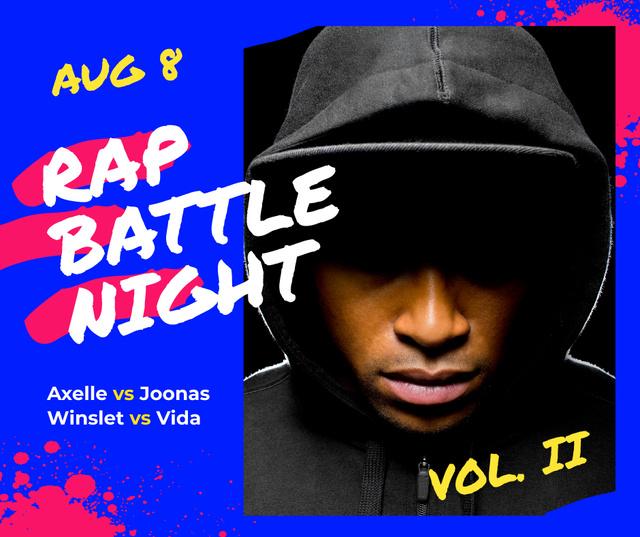 Rap Concert Artist Wearing Hood Facebook Modelo de Design