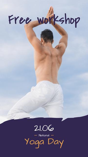 Modèle de visuel Man Practicing Yoga on White - Instagram Story