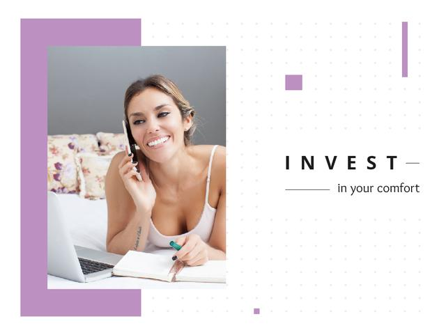 Comfort Investment Idea with Freelancer with Phone by Laptop Presentation Design Template