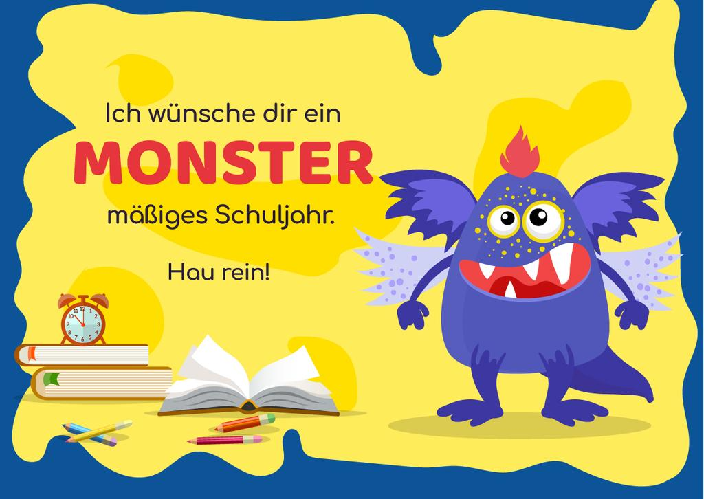 School Year Greeting with Monster — Modelo de projeto