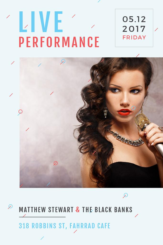 Live Performance Announcement Gorgeous Female Singer Tumblr Design Template