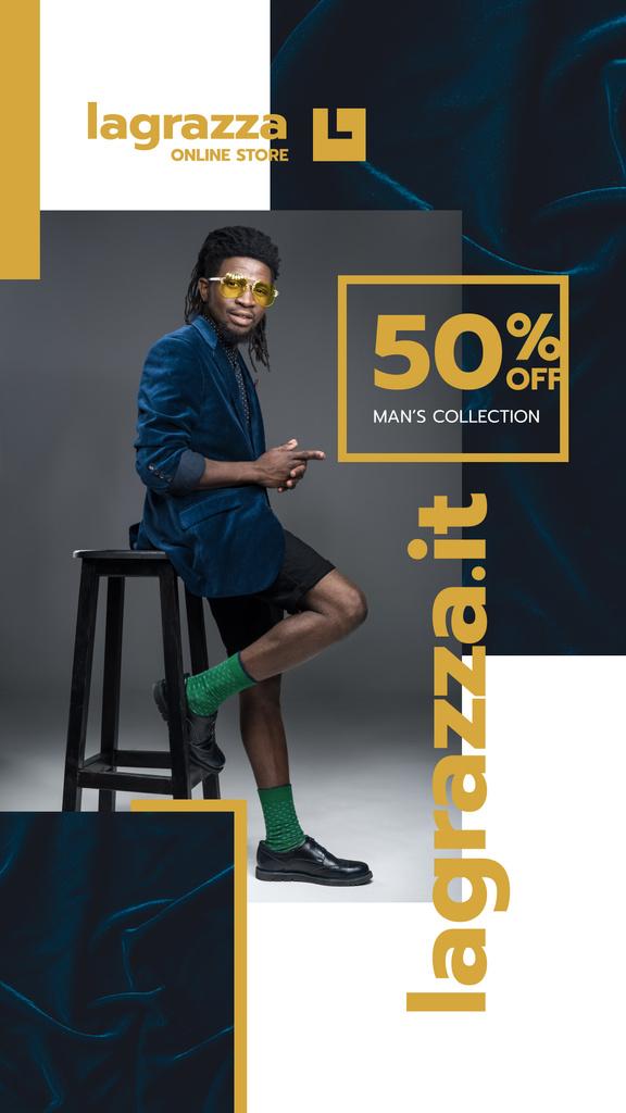 Plantilla de diseño de Stylish African American Man in Velvet blazer Instagram Story