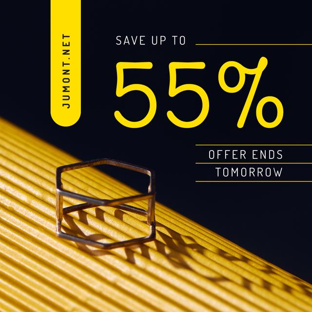Jewelry Collection Ad Golden Ring Instagram Modelo de Design