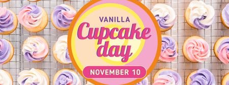 Modèle de visuel Cupcake Day with Sweet vanilla cupcakes - Facebook cover