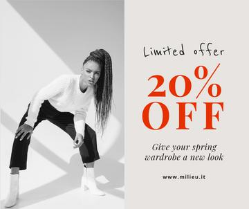 Women's Day Offer with Woman in Black and White Outfit