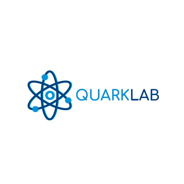 Lab Research with Atom Icon in Blue Logo Modelo de Design