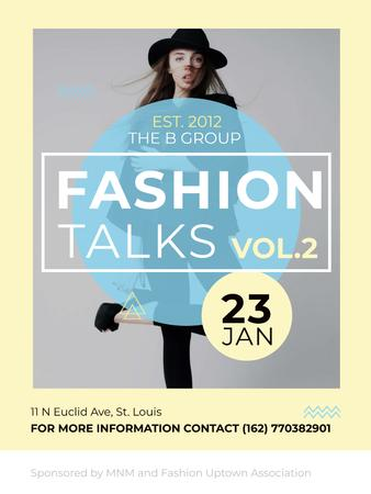 Modèle de visuel Fashion talks announcement with Stylish Woman - Poster US