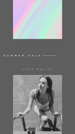 Template di design Fashion Ad with Girl enjoying sun in the pool Instagram Story