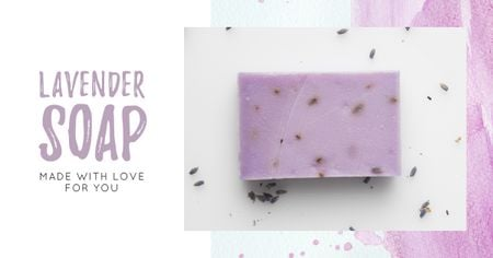 Ontwerpsjabloon van Facebook AD van Handmade Soap Bar with Lavender