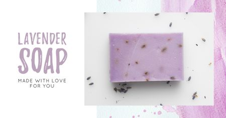 Handmade Soap Bar with Lavender Facebook AD Modelo de Design