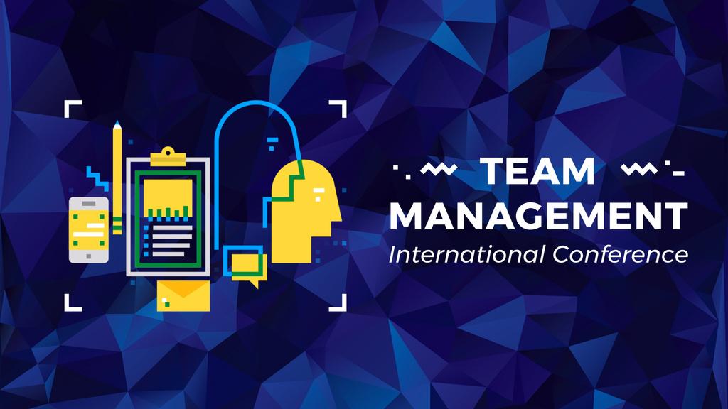 Business Management Icons on Blue — Maak een ontwerp