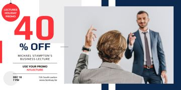 Business Event Announcement with Man Raising Hand