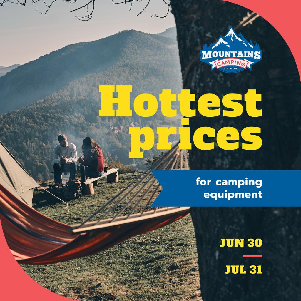 Designvorlage Camping Offer Tourists by Tents in Mountains für Instagram AD